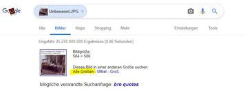 Screenshot Google Bildersuche Alle Größen