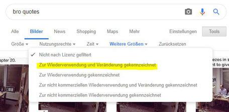 Screenshot Google Bildersuche Nutzungsrechte