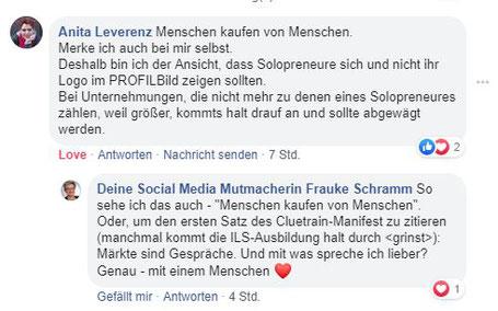 Facebook-Kommentar Anita Leverenz: Menschen kaufen von Menschen