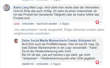 Facebbok-Kommentar Karin Lang: Produktverkauf, deshalb Logo