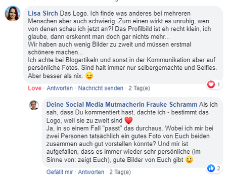 Facebook-Kommentar Lisa Sirch: Firma aus zwei Personen, also Logo